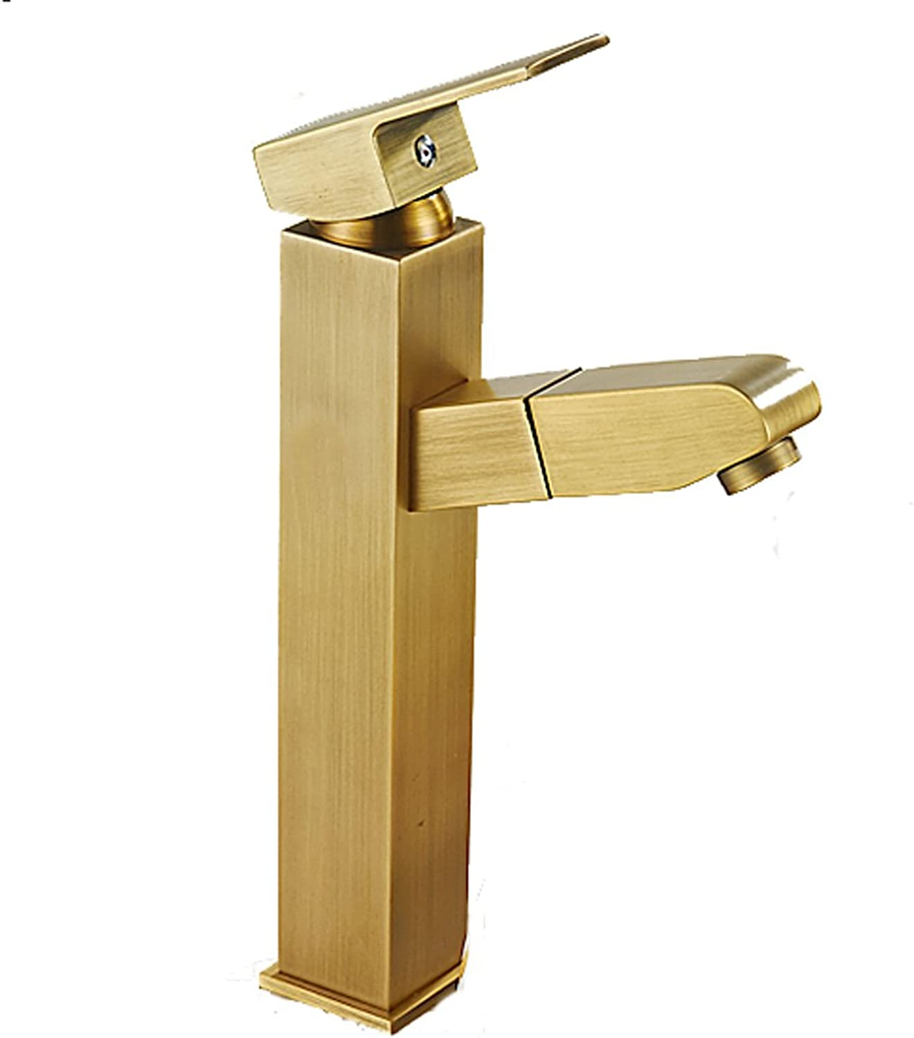 HAODAMAI Square High-style Faucet Copper Pull Type Hot And Cold Single Hole Retro European Style Bathroom Wash Basin Aperture Is 32MM To 42MM Can Be Installed