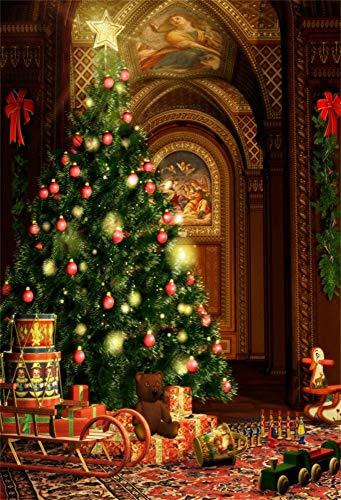 YongFoto 1x1,5 m foto achtergrond tapijt kerstboom Shining Ballen sterren geschenken ornamenten slee houten poppen jaar fotografie achtergrond fotobaby party banner kinderen fotostudio
