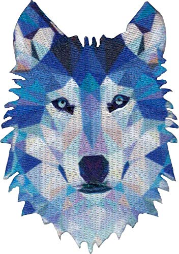 Geometric Wolf - Cut Out Embroidered Iron On or Sew On Patch