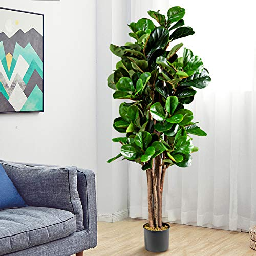 COSTWAY Artificial Trees with Plastic Pot, Lightweight & Easy to Clean Fiddle Fig Tree, Non Toxic Materials, Fake Decorative Plants for Home Office Lobby Restaurant (Green, 1.5m)
