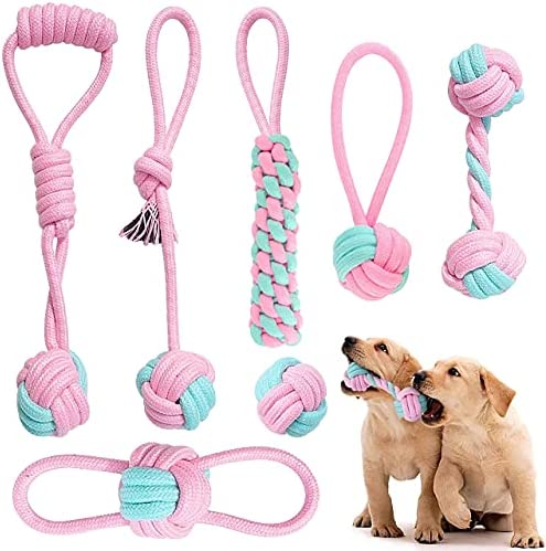Dog Toy Itsforthedogs 7 Piece Set Of Soft 100% Natural Cotton Pink and Turquoise Dog Rope Chew Toys. For Teething Training and boredom, Rope Toys for Puppies and Small Dogs. For Indoor Or Outdoor Fun