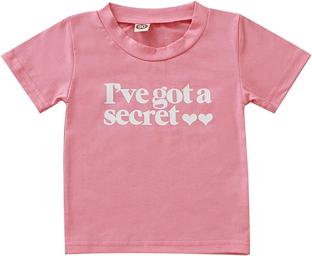 Toddler Little Girls Going to be Big Sister Cotton T-Shirt Clothes Short Sleeve Secret Letter Pink Tops Tee Outfit