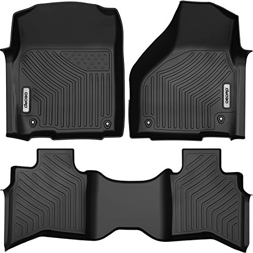 OEDRO Custom Fit Floor Mats for Quad Cab 2012-2018 Dodge Ram 1500/2019-2021 Dodge Ram 1500 Classic Models, All Weather Front & 2nd Seat Floor Liners