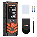 LOMVUM Laser Measure 328 Ft Digital Laser Tape Measure with Mute Function Laser Measuring Device with LCD Backlit Display and Measure Distance,Area and Volume,Pythagorean Mode Battery Included