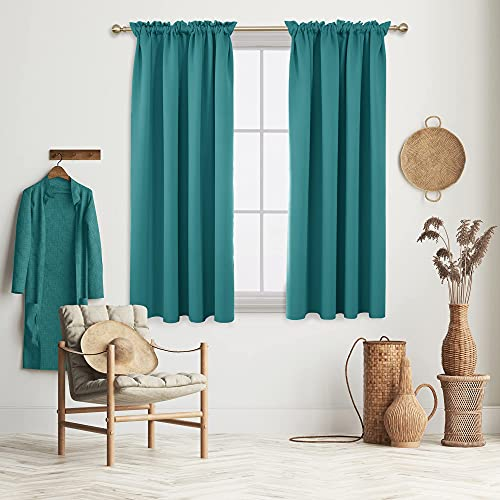 """Deconovo Blackout Curtains, Rod Pocket Curtain Panels, 52"""" W x 63"""" L, Turquoise, 2 Panels, Thermal Insulated Curtains & Drapes for Living Room Bedroom Kids Room"""