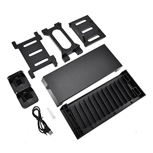 Verticale houder voor PS4 / PS4 Slim / PS4 PRO/Xbox One met dubbel laadstation, cd-speler, koelventilator.