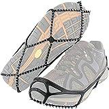 Geagodelia Crampons antidérapants pour chaussures avec chaîne en acier inoxydable sur neige pour camping ski en plein air (Noir, L 38-46)