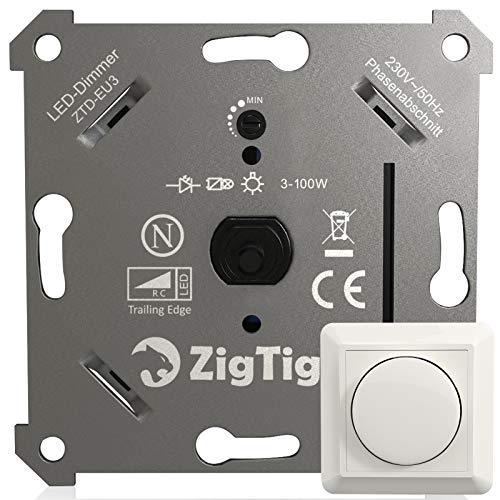 Zigtiger LED-Dimmer-Schalter, Drehdimmer Unterputz Dimmschalter geeignet für Dimmbare LEDs und Halogen 3-100 W, Ohne Klemmkrallen, Phasenabschnitt, 3 Jahre Garantie, weiß