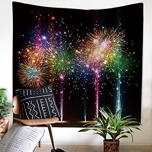 YMXMYJ Tapiz Pared Fuegos artificiales de color Colcha de pícnic, Manta de Pared, Tapices Decorativos 150 x 130 cm