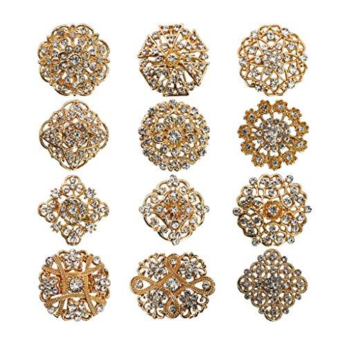 DREAMDEER Conjunto de alfileres de broches de Flores de Cristal de Diamantes de imitación Kit de broches de Ramo de Boda