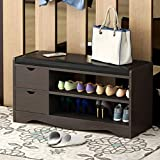 (US in Stock) 2-Tier Change Shoe Cabinet with Soft Cushion,Retro Entryway Storage Bench with Drawers,Creative Organizer Storage Rack Multi-Functional Foot Stool (Black Walnut)