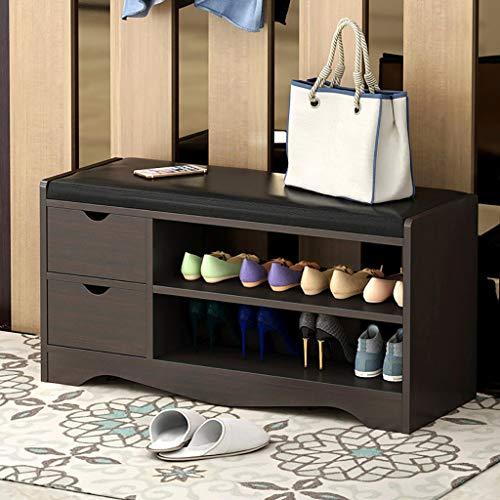 [US Fast Shipment} Shoe Storage Bench, 2 Tiers Wooden Shoe Rack Organiser with 2 Drawers Storage Stool for Hallway Bedroom Living Room Corridor Mudroom