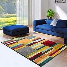 Universal Alfombra geométrica Moar Tiras Multicolor, 100% Polipropileno, Multi, 80 x 150 cm (66103)