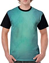Men T Shirts Fashion,Teal,Retro Inspired Grunge Style Abstract Pattern Vintage Design Calming Color Scheme,Turquoise Blue S-XXL Print Short Sleeve
