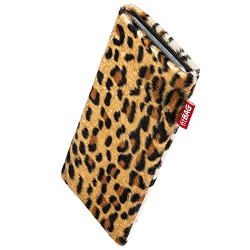 fitBAG Bonga Leopard Handytasche Tasche aus Fellimitat mit Microfaserinnenfutter für KAZAM Tornado 348 | Hülle mit Reinigungsfunktion | Made in Germany