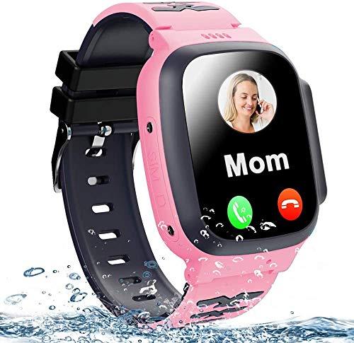 Smartwatch voor kinderen - GPS-telefoonhorloge voor jongens Meisjes met telefoontjes 7 spellen Wekkercamera SOS Stille modus Smart Watch voor kinderen Student 4-12 jaar als verjaardagscadeau,Pink