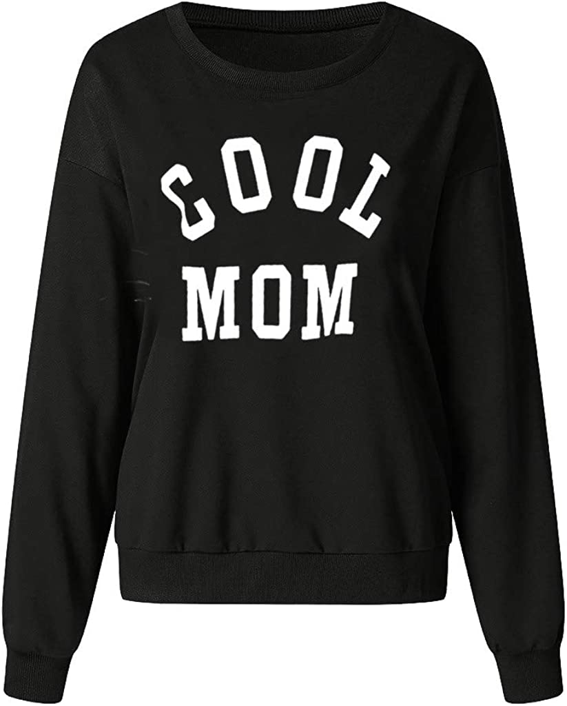 FORUU Women Pullover Hoodie Letter Print Cool MOM Sweatshirt Long Loose Sleeve Tops Creative Fashion Soft Blouses for Lady Casual Workout Gifts Favor,Autumn and Winter Outdoor Activities