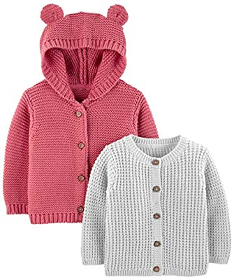 Simple Joys by Carter's Baby 2-Pack Neutral Knit Cardigan Sweaters, Grey/Red, 6-9 Months