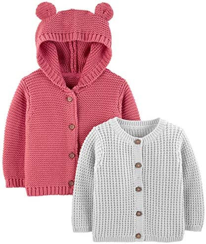 Simple Joys by Carter s Baby 2 Pack Neutral Knit Cardigan Sweaters Grey Red 0 3 Months product image