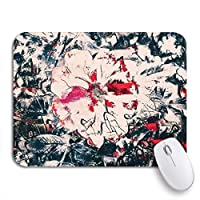 NINEHASA 可愛いマウスパッド ノートブックマウスマット用ノンスリップゴムバッキングコンピューターマウスパッドの赤と黒の抽象花ブーケ