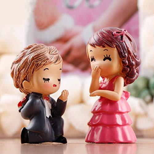SweetGifts プロポーズ 結婚 テーマ 花嫁 花婿 カップル フィギュア ミニチュア Marry Me オーナメント クラフト フェアリーガーデン 盆栽 ドールハウス 2個
