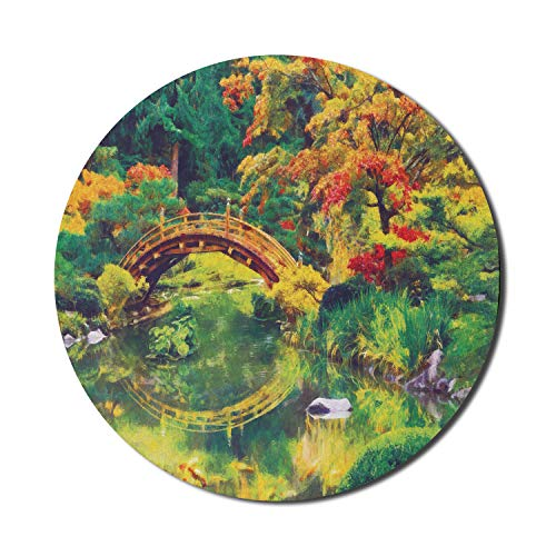 Ambesonne Country Mouse Pad for Computers, Fairy Image of a Japanese Garden with an Old Bridge The Lake Nature Print, Round Non-Slip Thick Rubber Modern Gaming Mousepad, 8' x 8', Green Orange