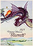 "Wall Calendar 2021 [12 pages 8""x11""] Amazing Fantasy Scenes by Virginia Sterret Vintage Art Poster"