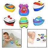 Itian Barcos flotantes - Juguetes de baño, Barco de Baño Juguetes de Bañera para Bebés, Juego de 6