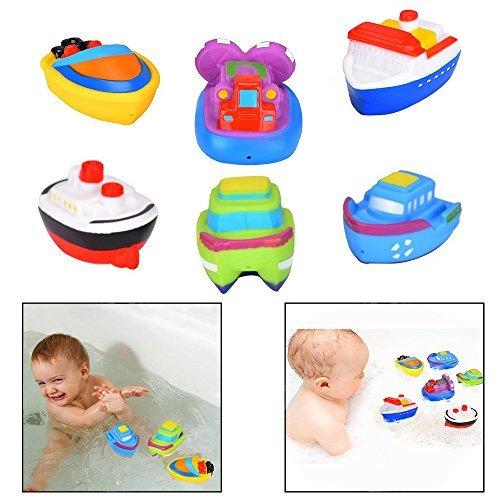 Itian 6pcs Schwimmende Boot Spielzeug Kautschuk Badewanne Spielzeug für Baby