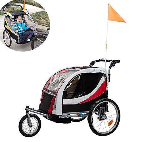 Kinderfiets Trailer, Opvouwbare Trolley met regenhoes, Reisuitrusting Kinderhuisdier Trailer, converteerbaar naar kinderwagen/Jogger
