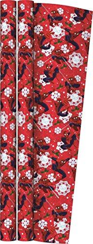 6m (2 x 3m) Marvel Weihnachten Geschenkpapier Papierrolle - Spider-Man & Schneeflocken