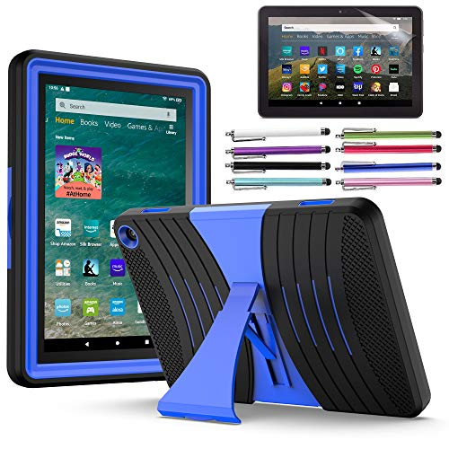 EpicGadget Case for Amazon Fire HD 8 / Fire HD 8 Plus (10th Generation, 2020 Released) - Heavy Duty Hybrid Case Cover with Kickstand + 1 Screen Protector and 1 Stylus (Black/Blue)