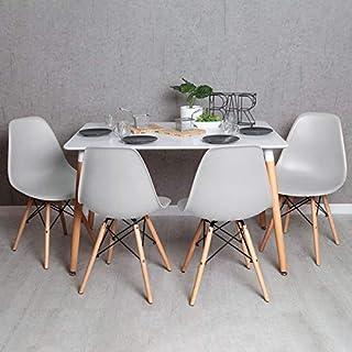 Regalos Miguel - Conjuntos - Conjunto Mesa Tower Rectangular 120 x 80 cm Blanca y Pack 4 Sillas Tower Basic - Gris Claro - Envío Desde España