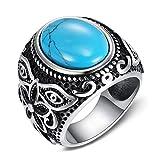 BOBIJOO Jewelry - Bague Chevalière Homme Femme 21mm Turquoise Venise Fleur Acier...