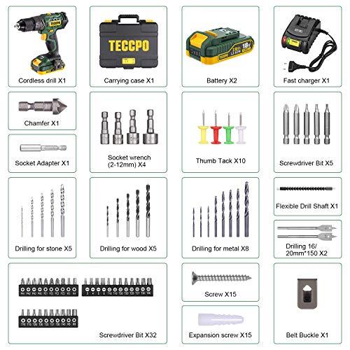 Avvitatore a Batteria 18V, Avvitatore a Percussione 45Nm, 2 x 2,0 Ah Batterie, Foratura di Muri e Calcestruzzo con Valigetta Premium, 105 Accessori Adatti a Tutti i Tipi di Montaggio di Mobili