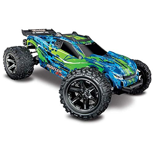 Traxxas 67076-4 Rustler 4x4 VXL Off Road Electric Remote Control RC Car Chassis Body with Remote Control for Adults and Kids, Green
