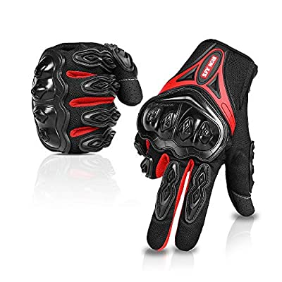 Motorcycle Gloves Full Finger Durable for Road Racing Bike Summer Spring Powersports Support Touch Screen red-L from IRON JIA'S