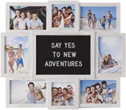 MELANNCO Customizable Letter Board with 8-Opening Photo Collage, 19-Inch-by-17-Inch, White