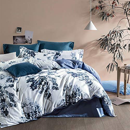 MILDLY Luxury King Duvet Cover 3 Piece Blue Cotton Bedding Set with Zipper Closure & Closure Corner...