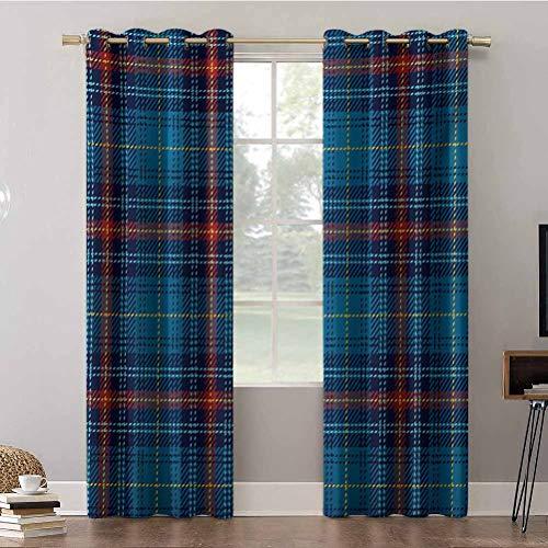 Cortinas de dormitorio, 52 x 84 con aislamiento térmico, patrón cultural con líneas finas, diseño tradicional irlandés, cortinas opacas para dormitorio de niños (2 paneles)