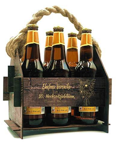Generisch Bierträger Holz Bierkiste Flaschenträger Flaschenhalter Tragekorb Personalisierte Geschenke Geburtstag Männergeschenke Flaschenkiste Flaschenkorb 6 Flaschen 23x22x22,5 cm Gravur (Muster 1)
