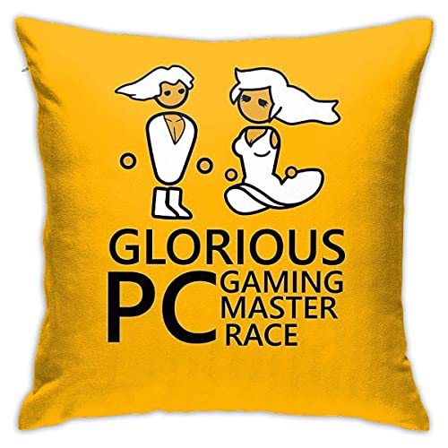 Epaynetwork Fundas de Cojines Funda de Almohada de poliéster Suave Glorious Pc Gaming Master Race Sala de Estar Sofá Cama Funda de Almohada para Coche Funda de cojín 45 × 45 cm