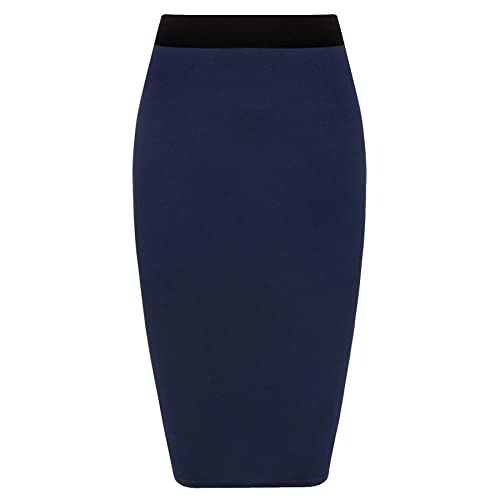 df3526e7ca5c5 Womens Pencil Stretch Tube Wiggle Ladies Contrast Elasticated Waistband Fit  Bodycon Plain Office Midi Skirt Plus