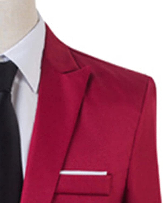 Men's 2 Piece Slim Fit Suit Sets 1 Button Casual Slim Prom Dress Suits Business Solid Color Tuxedo Jacket Vest Pants