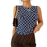 Women Teen Girl Ribbed Tank Crop Top Sleeveless Y2k Cami Vest Top Plaid Fashion E-Girl Shirts Summer Streetwear (Blue, Small, s)