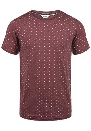 !Solid Aaron Herren T-Shirt Kurzarm Shirt Mit Rundhals-Ausschnitt Und All-Over-Print, Größe:L, Farbe:Wine Red Melange (8985)