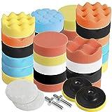 Faburo Tamponi per lucidatura kit lucidatura auto con adattatore per trapano M10, set di 31 pezzi lucidatura pad spugna, lucidatura lana tampone per lucidatrice e ceretta(31pz)