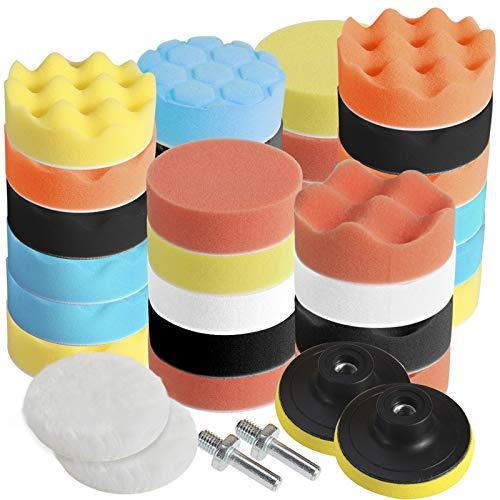 Faburo 31pcs Tamponi per lucidatura kit lucidatura auto con adattatore per trapano M10, set di 31 pezzi lucidatura pad spugna, lucidatura lana tampone per lucidatrice e ceretta