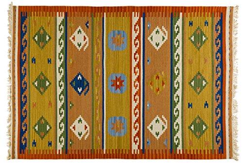 Kelim Teppich Malia, handgewebt, 80% Wolle 20% Baumwolle, 2 Designs, 2 Größen Webteppich, Wollteppich, Größe:120 x 180 cm, Farbe:Design 1