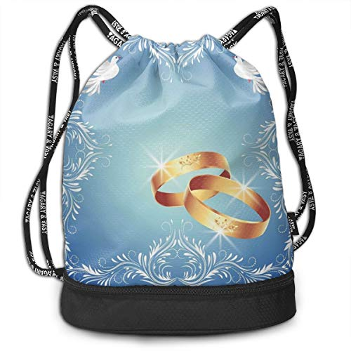 NoBrand Drawstring Backpack String Bag Casual, D4218 Ornament Frame And Two Flying Doves Heart Shapes Wedding Rings